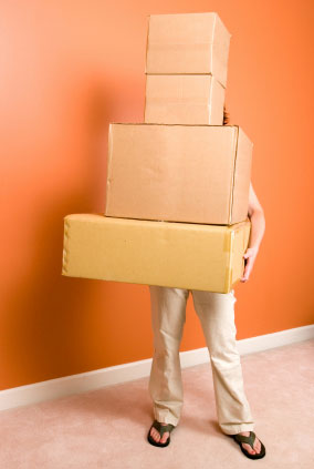 Person With Self Storage Moving Boxes